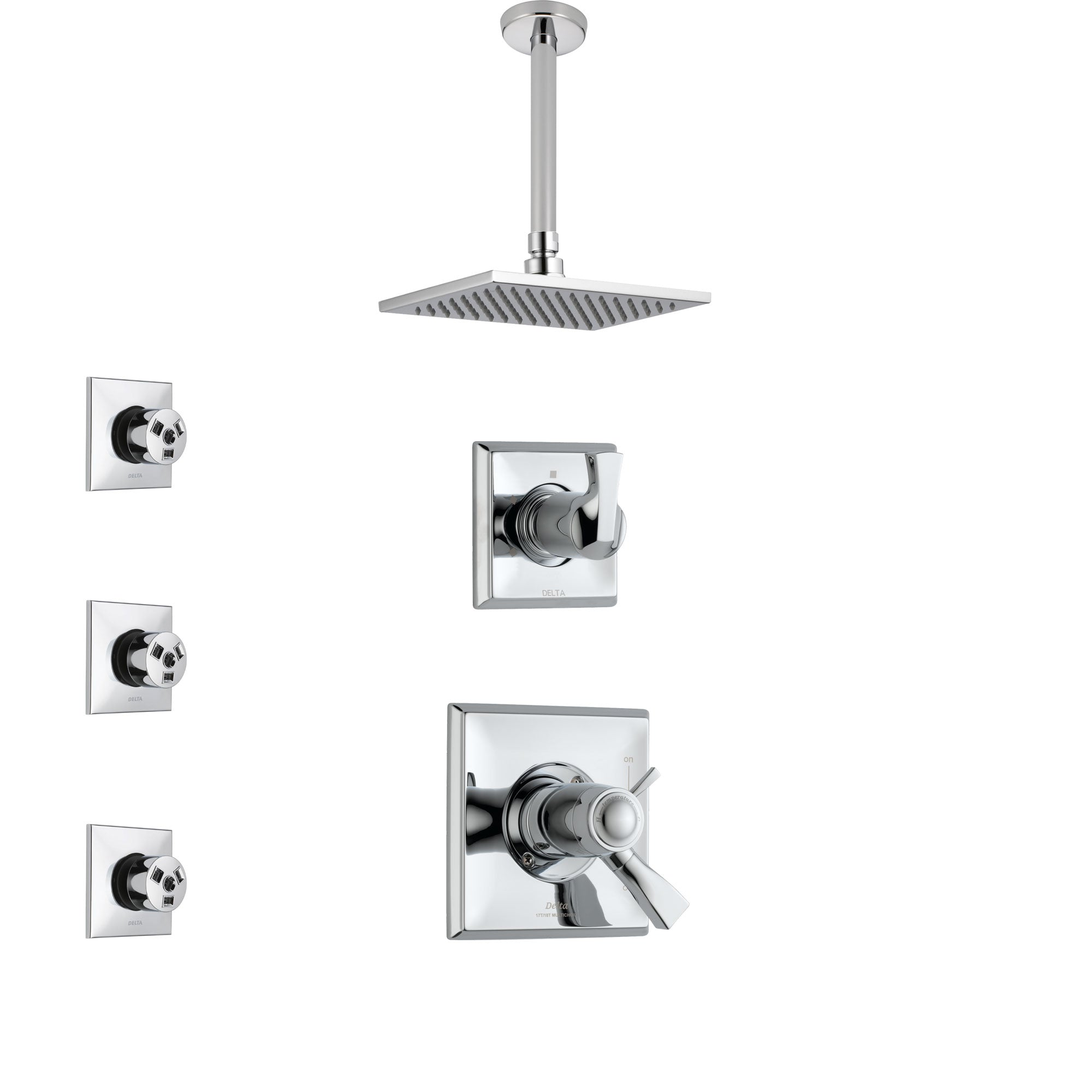 Delta Dryden Chrome Finish Shower System with Dual Thermostatic Control Handle, Diverter, Ceiling Mount Showerhead, and 3 Body Sprays SS17T5117