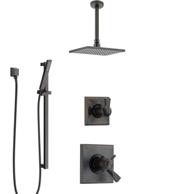 Delta Dryden Venetian Bronze Shower System with Dual Thermostatic Control Handle, Diverter, Ceiling Mount Showerhead, and Hand Shower SS17T511RB3