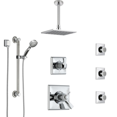 Delta Dryden Chrome Shower System with Dual Thermostatic Control, Diverter, Ceiling Showerhead, 3 Body Sprays, and Grab Bar Hand Shower SS17T5121