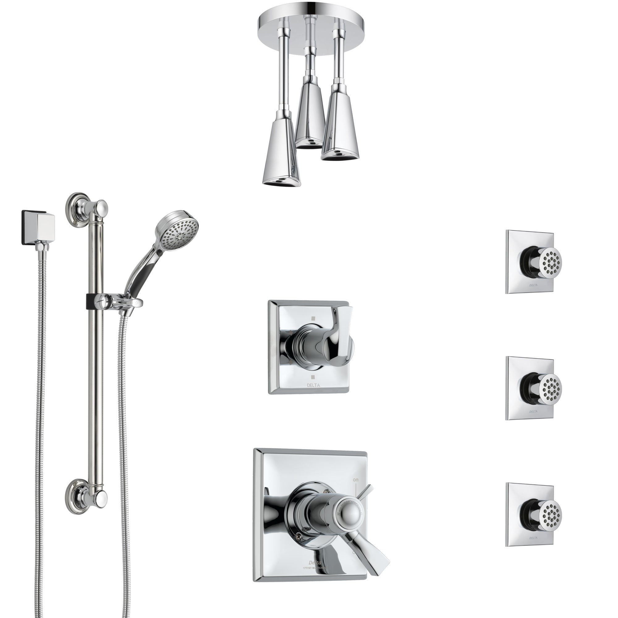 Delta Dryden Chrome Shower System with Dual Thermostatic Control, Diverter, Ceiling Showerhead, 3 Body Sprays, and Grab Bar Hand Shower SS17T5124