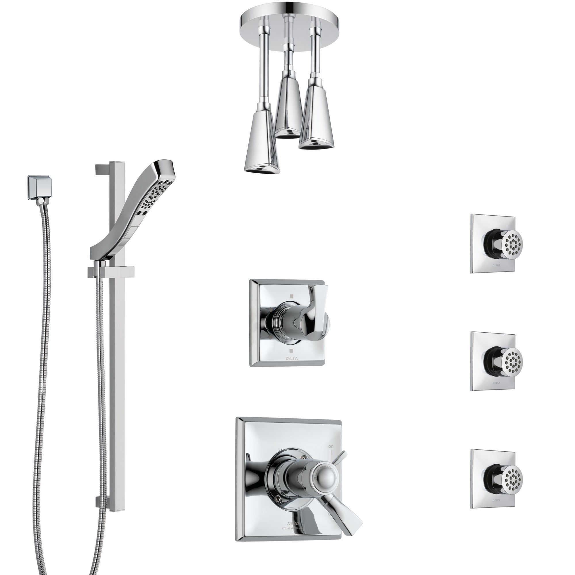 Delta Dryden Chrome Shower System with Dual Thermostatic Control, Diverter, Ceiling Mount Showerhead, 3 Body Sprays, and Hand Shower SS17T5125