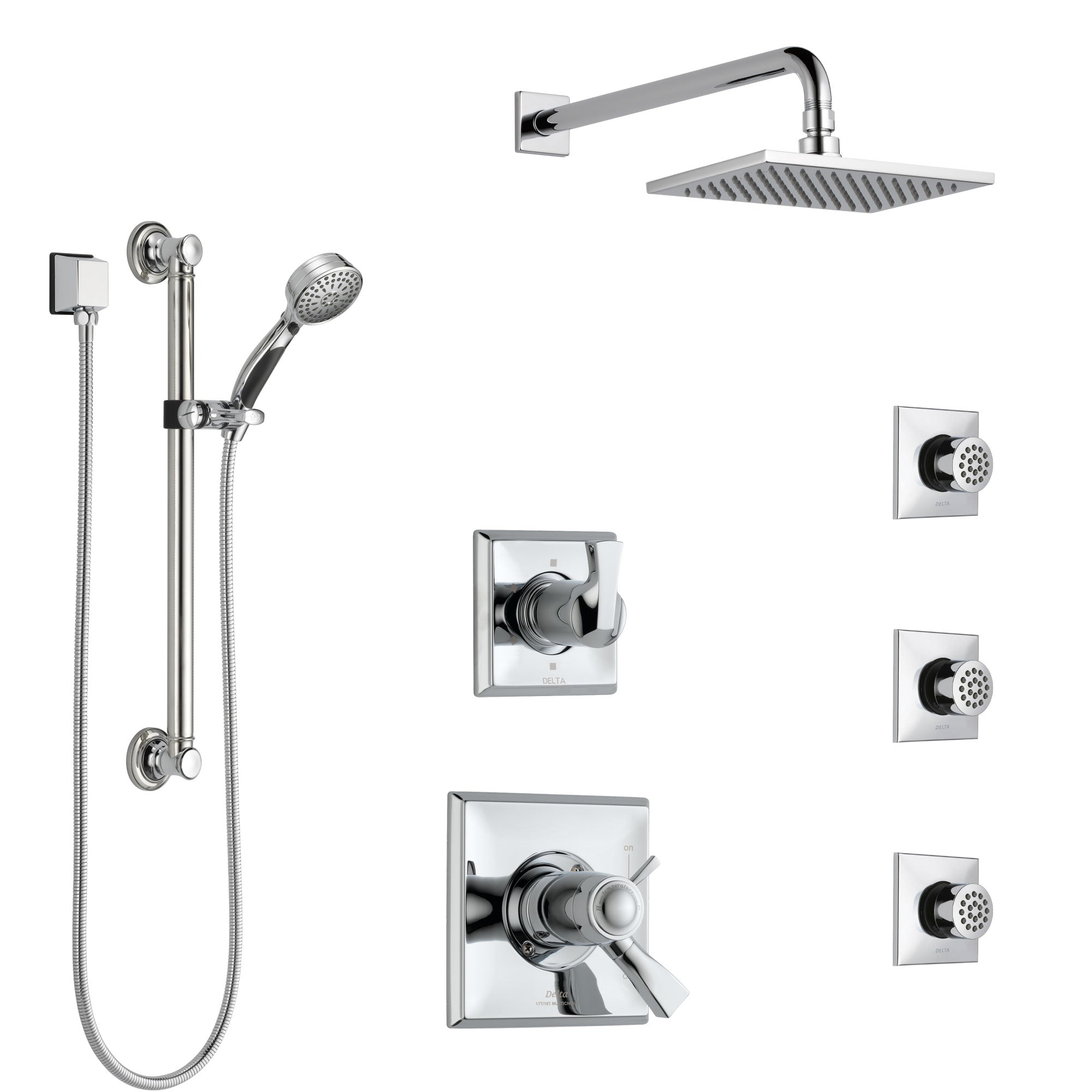 Delta Dryden Chrome Shower System With Dual Thermostatic Control Diverter Showerhead 3 Body Sprays And Hand Shower With Grab Bar Ss17t5127