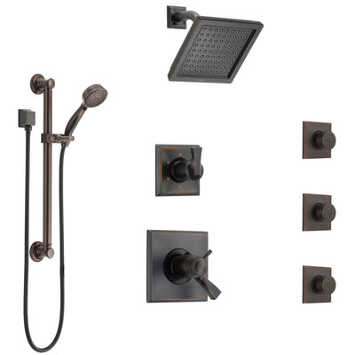 Delta Dryden Venetian Bronze Shower System with Dual Thermostatic Control, Diverter, Showerhead, 3 Body Sprays, and Grab Bar Hand Shower SS17T512RB1