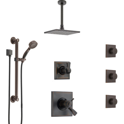 Delta Dryden Venetian Bronze Dual Thermostatic Control Shower System, Diverter, Ceiling Showerhead, 3 Body Sprays, and Grab Bar Hand Spray SS17T512RB3