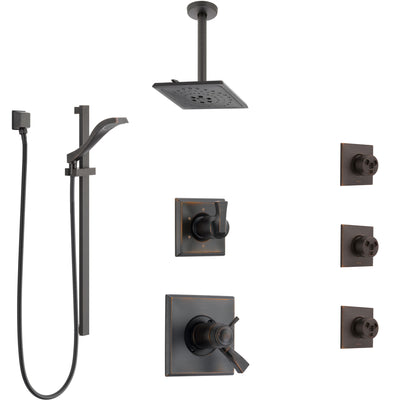 Delta Dryden Venetian Bronze Shower System with Dual Thermostatic Control, Diverter, Ceiling Showerhead, 3 Body Sprays, and Hand Shower SS17T512RB5