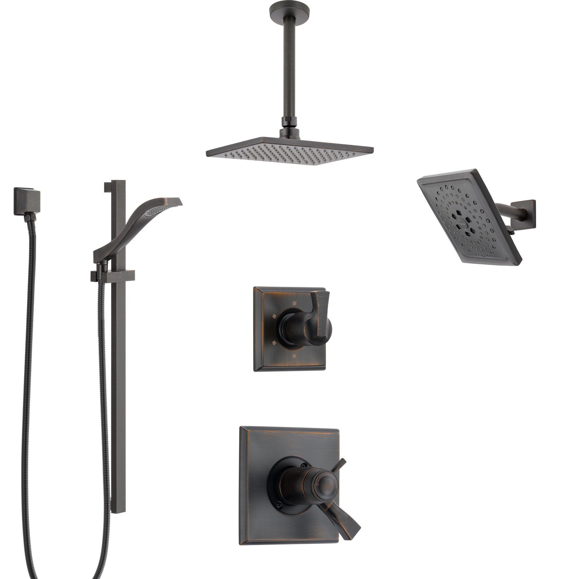 Delta Dryden Venetian Bronze Shower System with Dual Thermostatic Control, Diverter, Showerhead, Ceiling Mount Showerhead, and Hand Shower SS17T512RB6