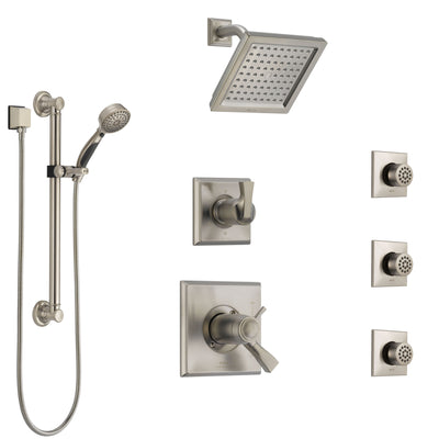 Delta Dryden Dual Thermostatic Control Stainless Steel Finish Shower System, Diverter, Showerhead, 3 Body Sprays, and Grab Bar Hand Shower SS17T512SS1
