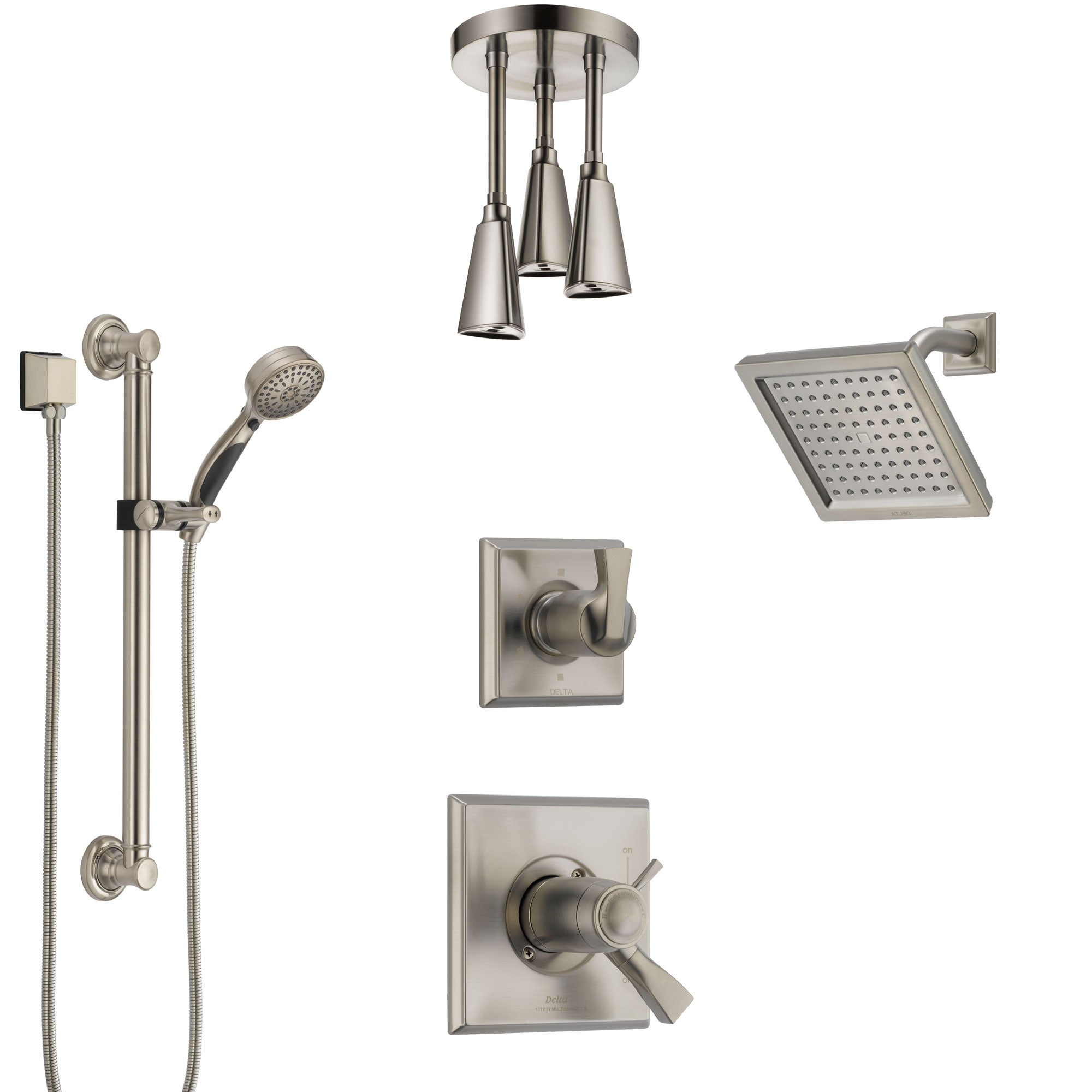 Delta Dryden Dual Thermostatic Control Stainless Steel Finish Shower  System, Diverter, Showerhead, Ceiling