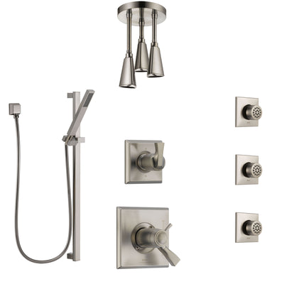 Delta Dryden Dual Thermostatic Control Stainless Steel Finish Shower System, Diverter, Ceiling Showerhead, 3 Body Sprays, and Hand Shower SS17T512SS3