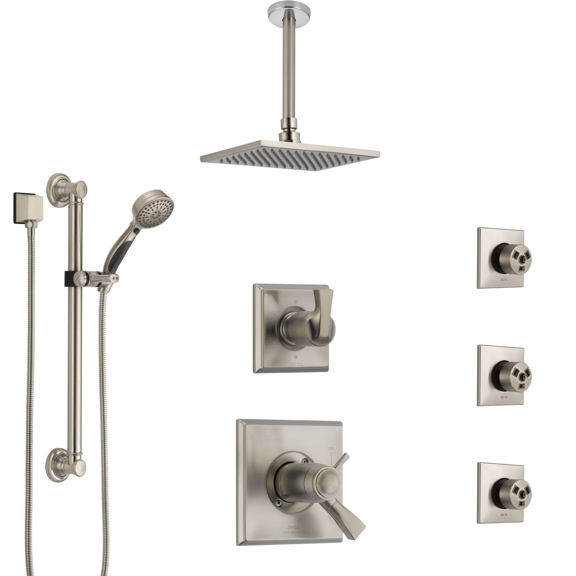 Delta Dryden Dual Thermostatic Control Stainless Steel Finish Shower System with Ceiling Showerhead, 3 Body Jets, Grab Bar Hand Spray SS17T512SS5