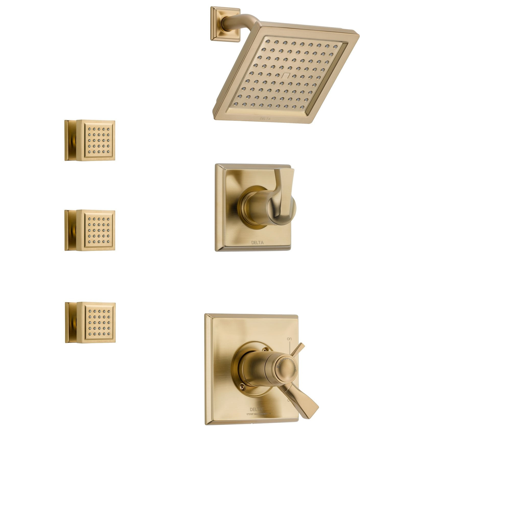 Delta Dryden Champagne Bronze Shower System with Thermostatic Shower Handle, 3-setting Diverter, Square Showerhead, and 3 Modern Square Body Sprays SS17T5181CZ
