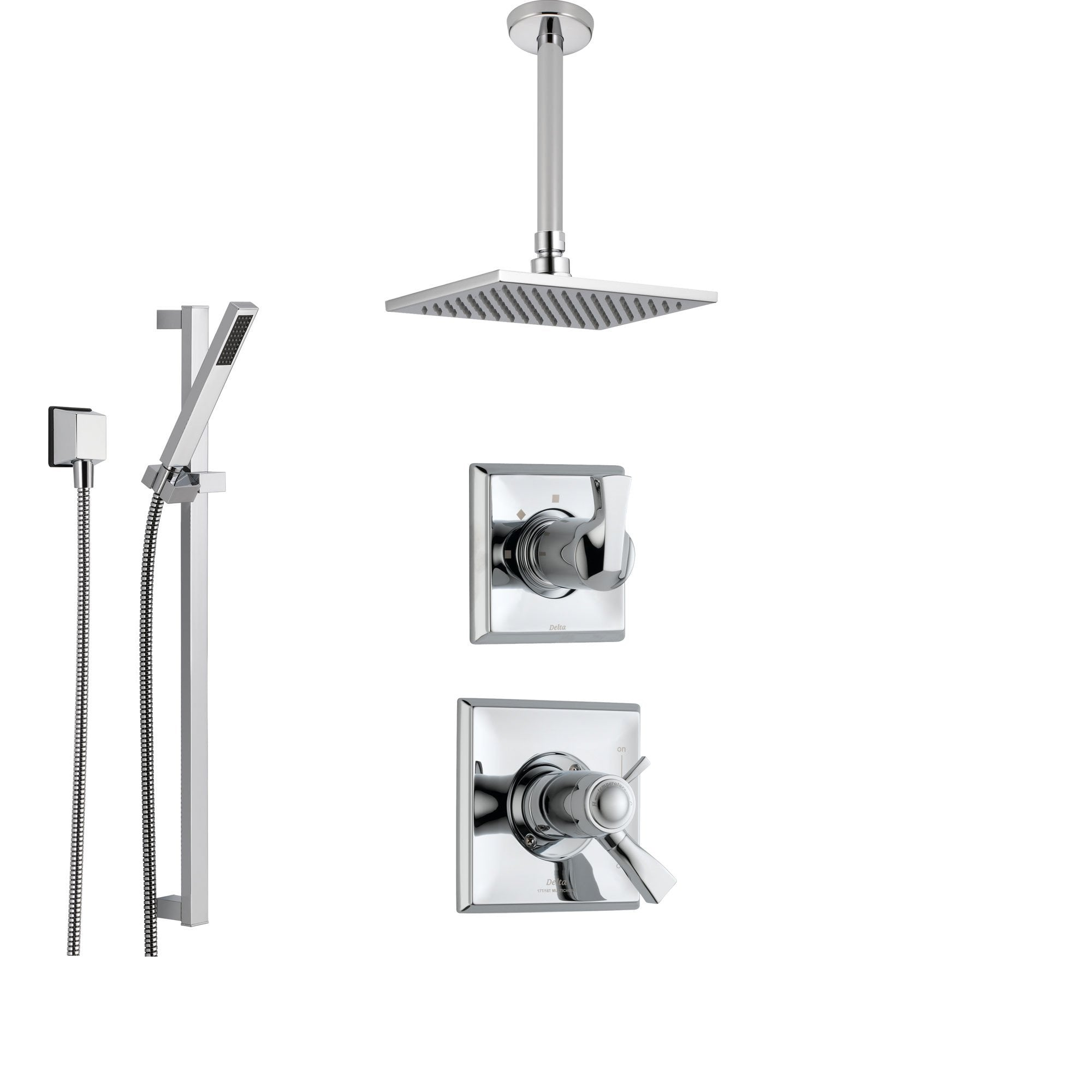 Delta Dryden Chrome Shower System With Thermostatic Shower Handle 3 Setting Diverter Modern Square Ceiling Mount Rain Showerhead And Handheld
