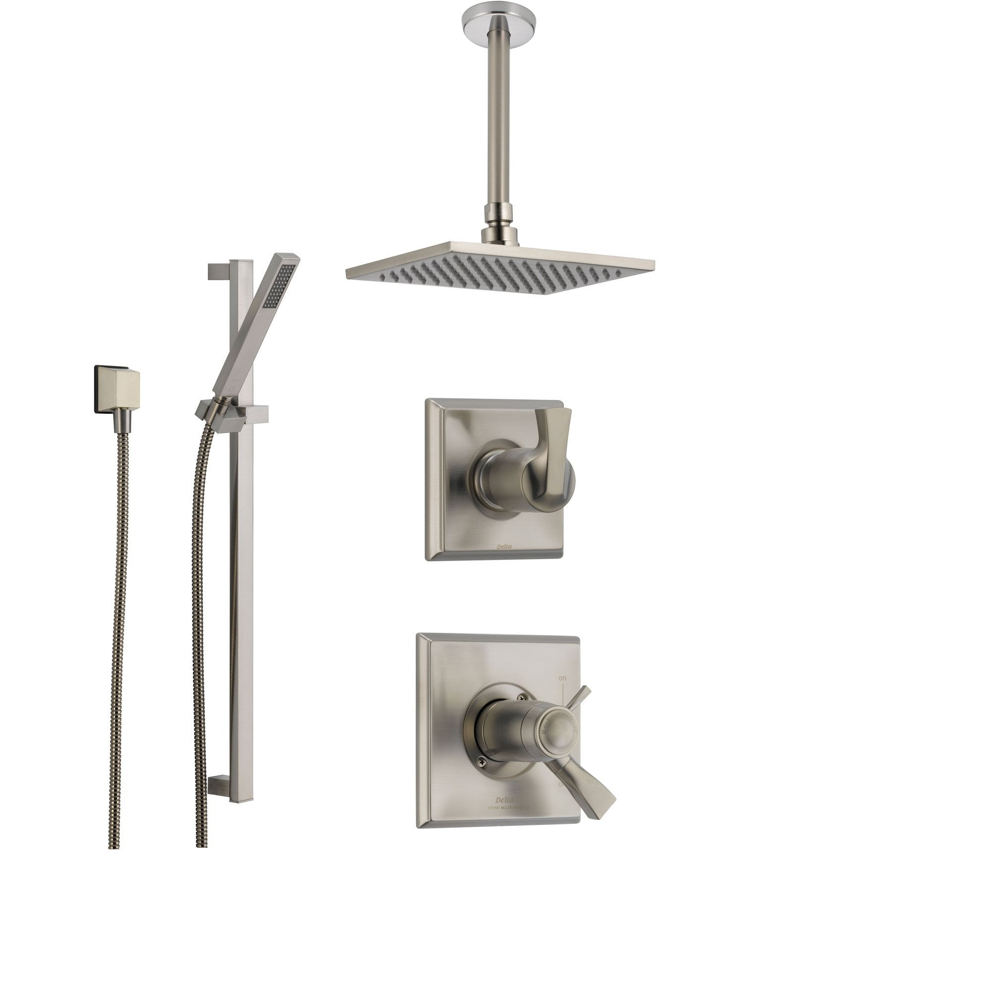 Delta Dryden Stainless Steel Shower System With Thermostatic Shower Handle 3 Setting Diverter Large Square Ceiling Mount Rain Showerhead And