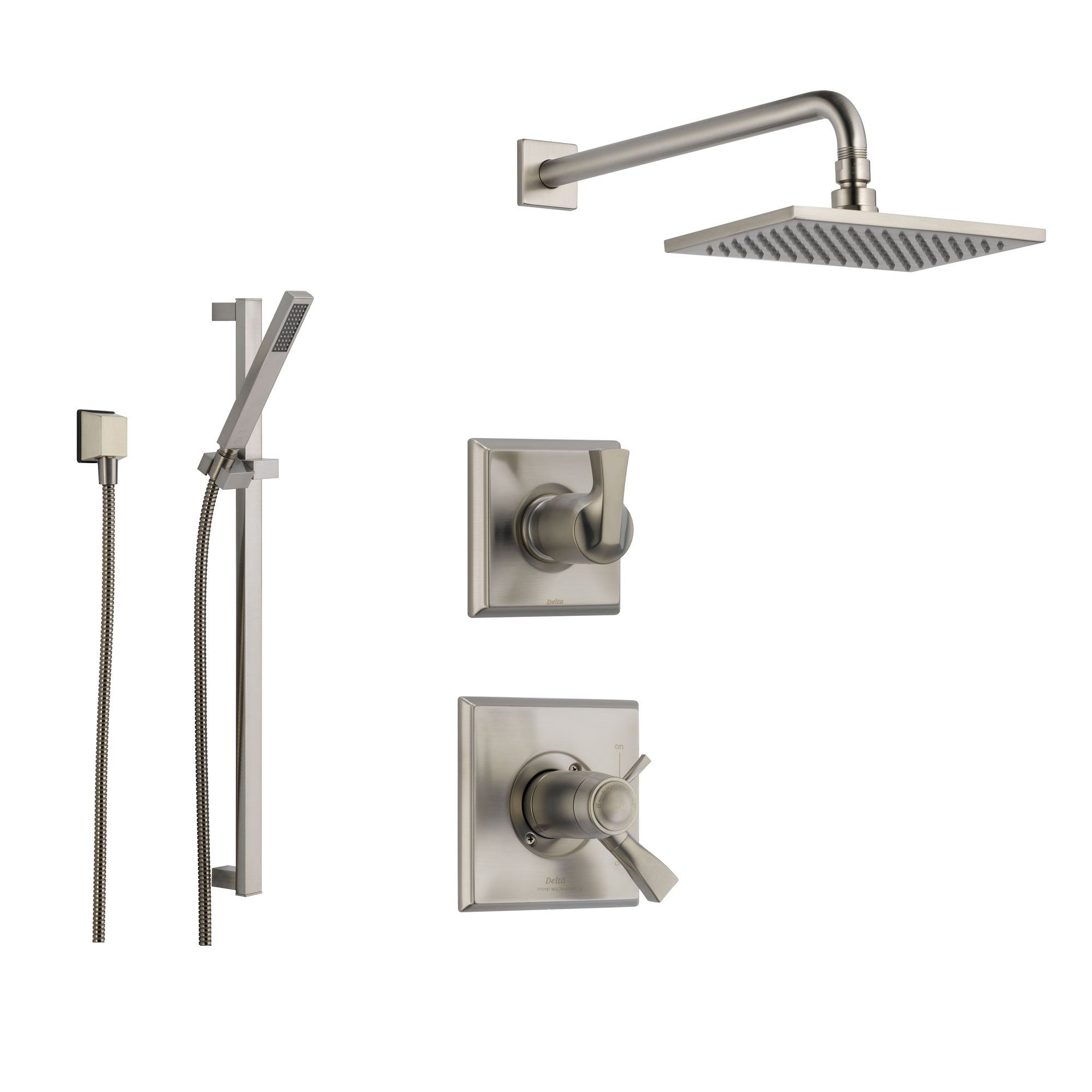 Delightful Delta Dryden Stainless Steel Shower System With Thermostatic Shower Handle,  3 Setting Diverter,