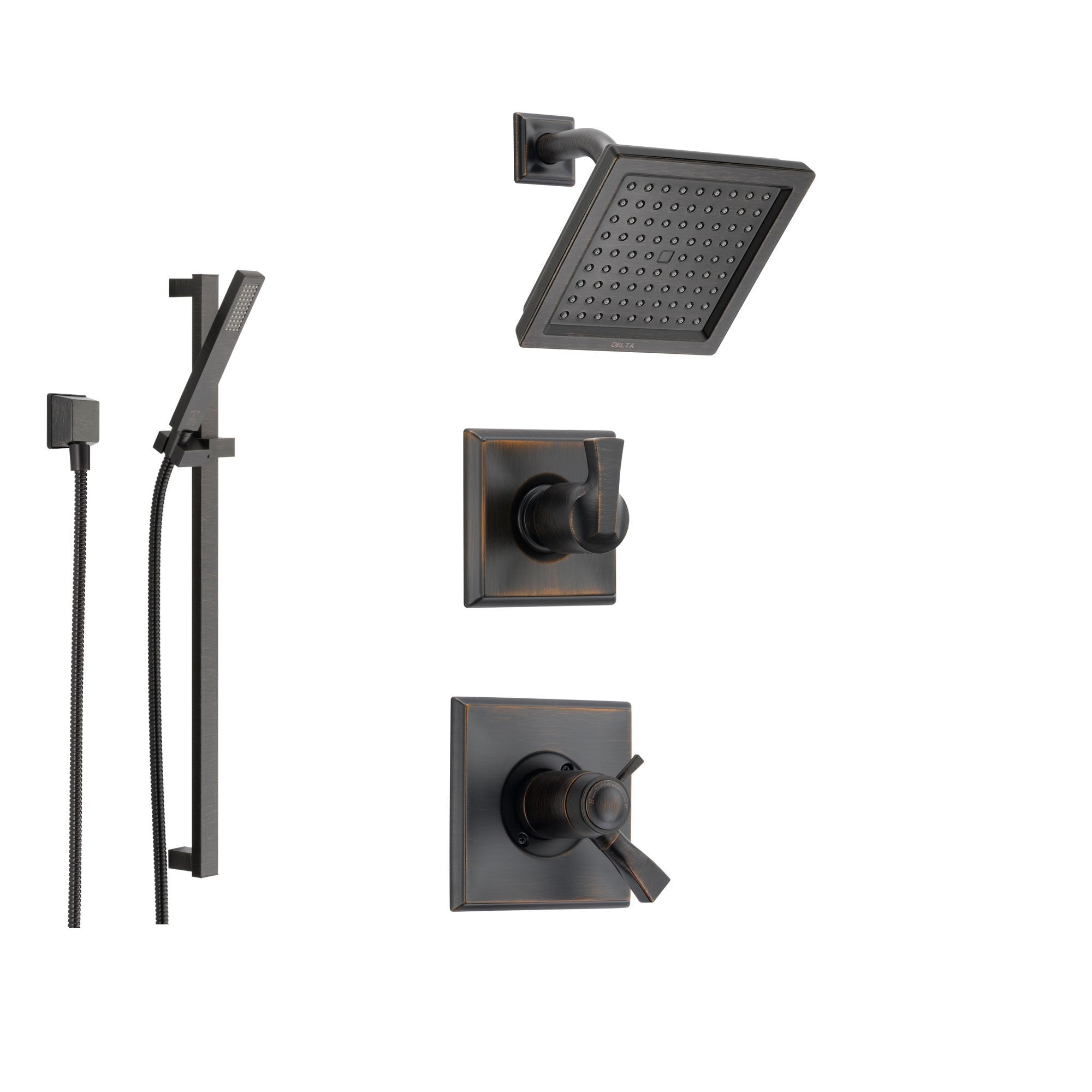 Delta Dryden Venetian Bronze Shower System with Thermostatic Shower Handle, 3-setting Diverter, Modern Square Showerhead, and Handheld Shower SS17T5185RB