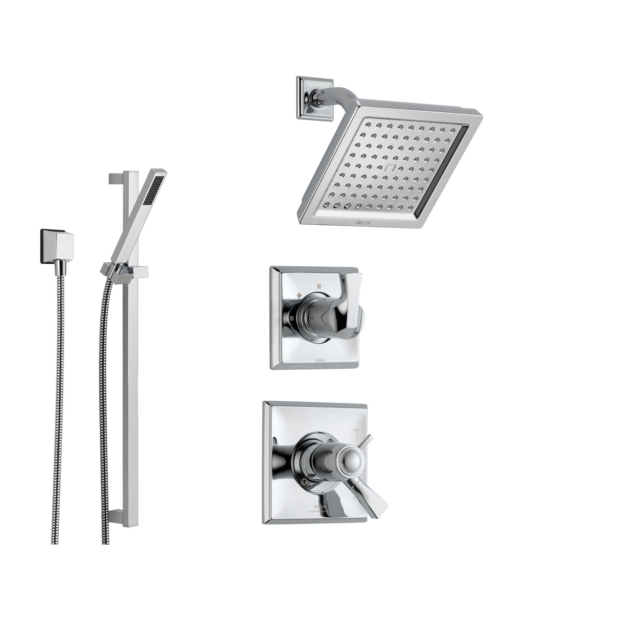 Delta Dryden Chrome Shower System with Thermostatic Shower Handle, 3-setting Diverter, Modern Square Showerhead, and Handheld Shower SS17T5185
