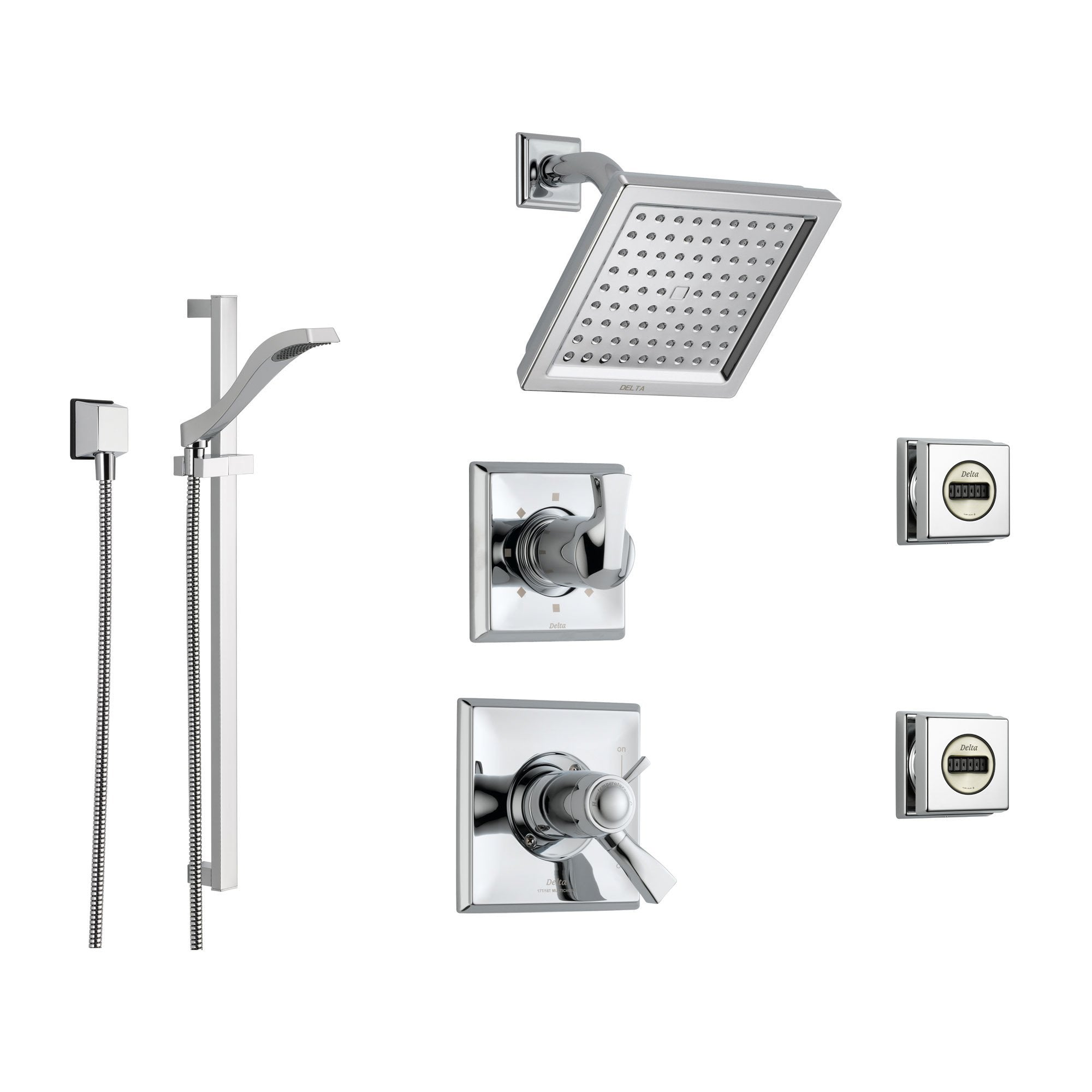 Beautiful Delta Dryden Chrome Shower System With Thermostatic Shower Handle,  6 Setting Diverter, Modern