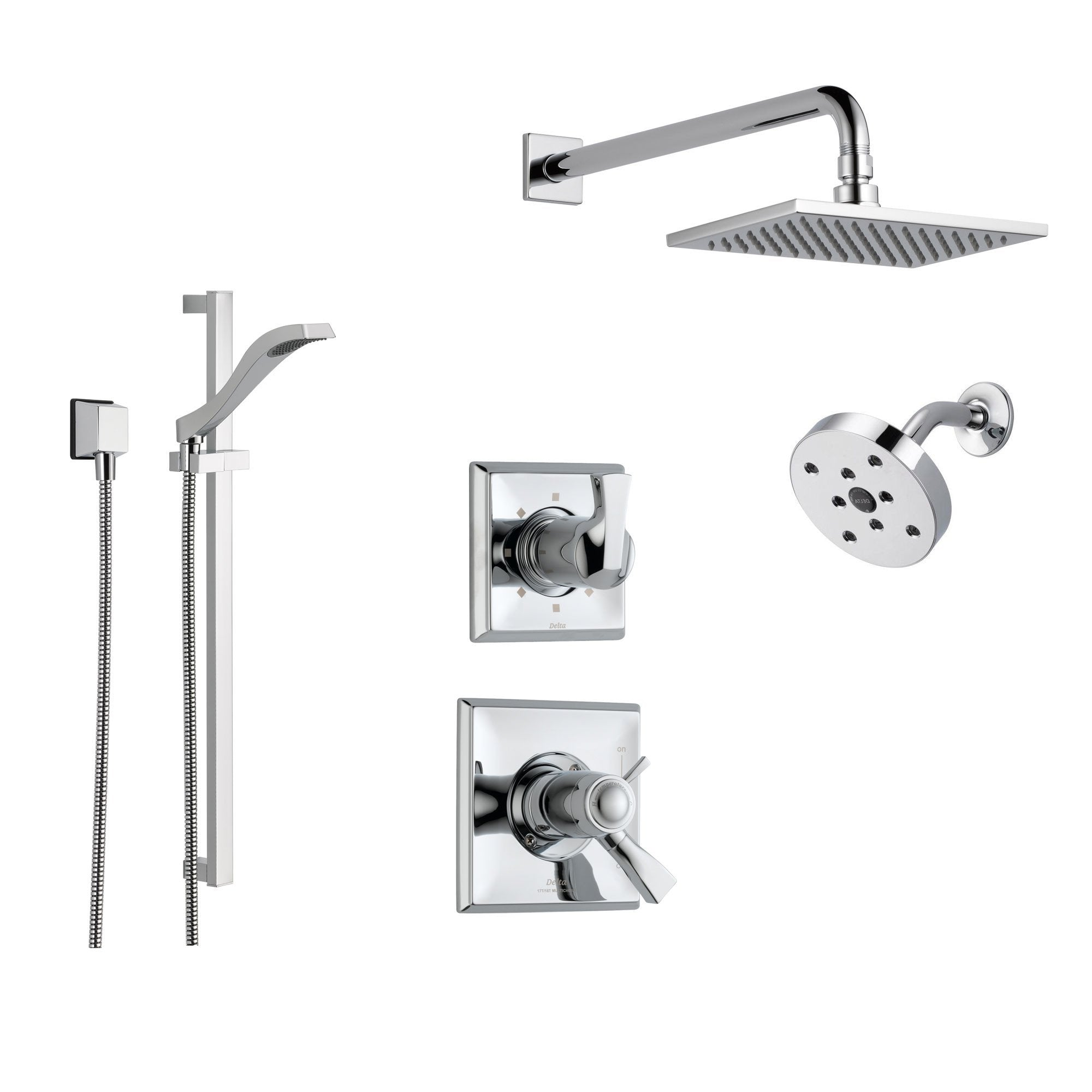 Delta Dryden Chrome Shower System With Thermostatic Shower Handle 6 Setting Diverter Large Square Rain Shower Head Modern Round Showerhead And