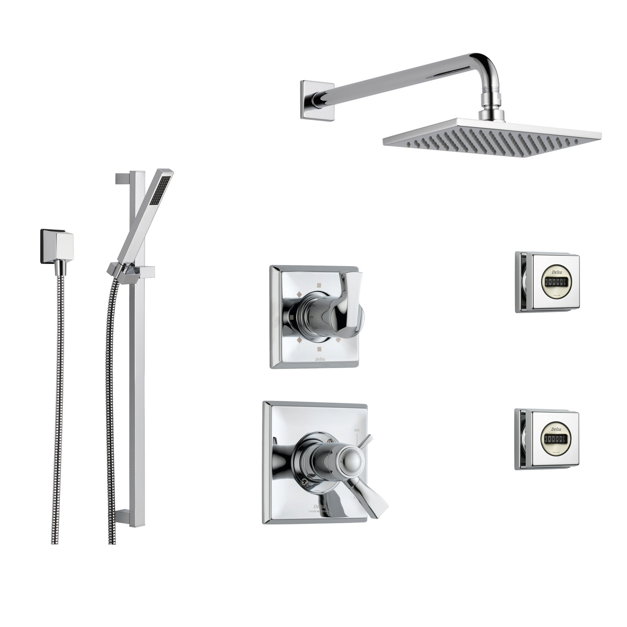 Delta Dryden Chrome Shower System With Thermostatic Shower Handle 6 Setting Diverter Large Square Rain Shower Head Hand Shower Spray And 2 Body