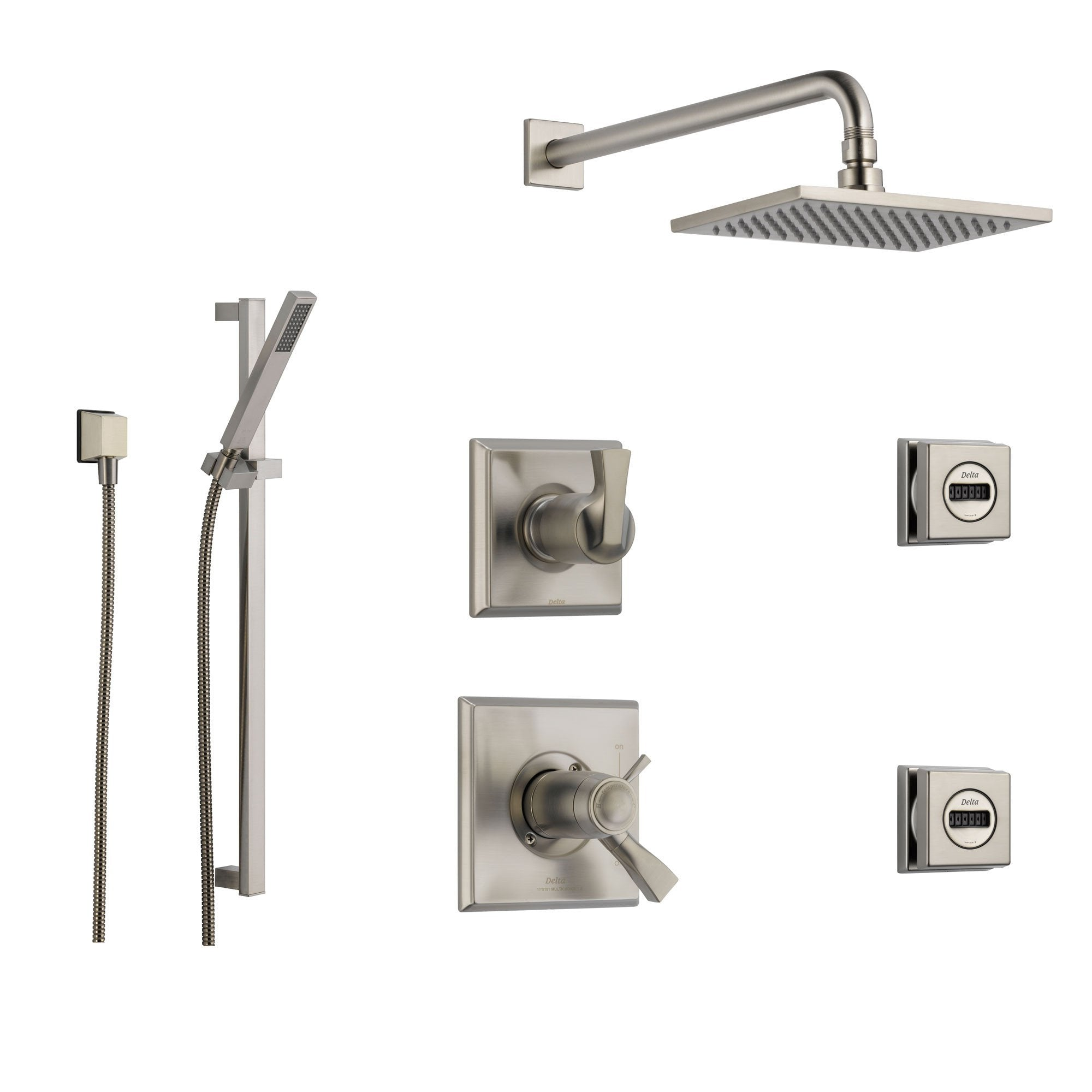 square rain shower head with handheld spray. Delta Dryden Stainless Steel Shower System with Thermostatic Handle  6 setting Diverter