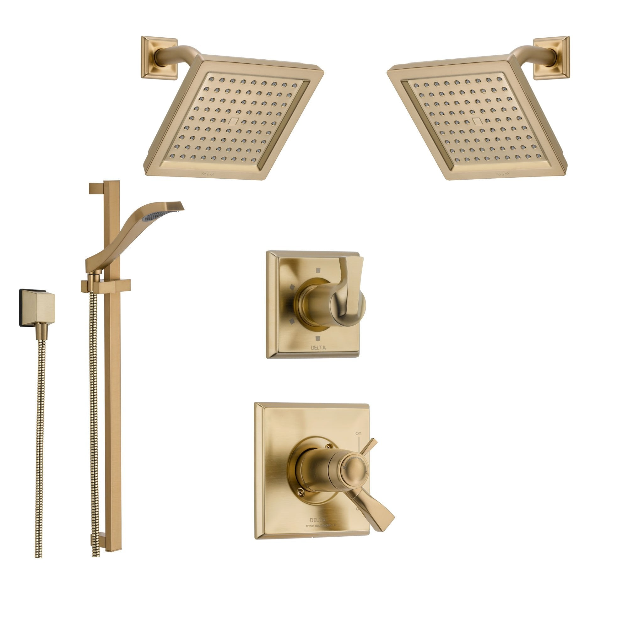 Delta Dryden Champagne Bronze Shower System with Thermostatic Shower Handle, 6-setting Diverter, 2 Modern Square Showerheads, and Hand Shower Spray SS17T5195CZ