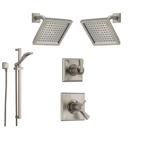 Shower System Kits with 2 Wall Mounted Showerheads and Hand Shower Sprayer