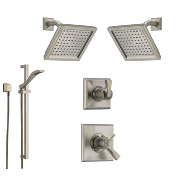 Delta Dryden Stainless Steel Shower System with Thermostatic Shower Handle, 6-setting Diverter, 2 Modern Square Showerheads, and Handheld Shower SS17T5195SS
