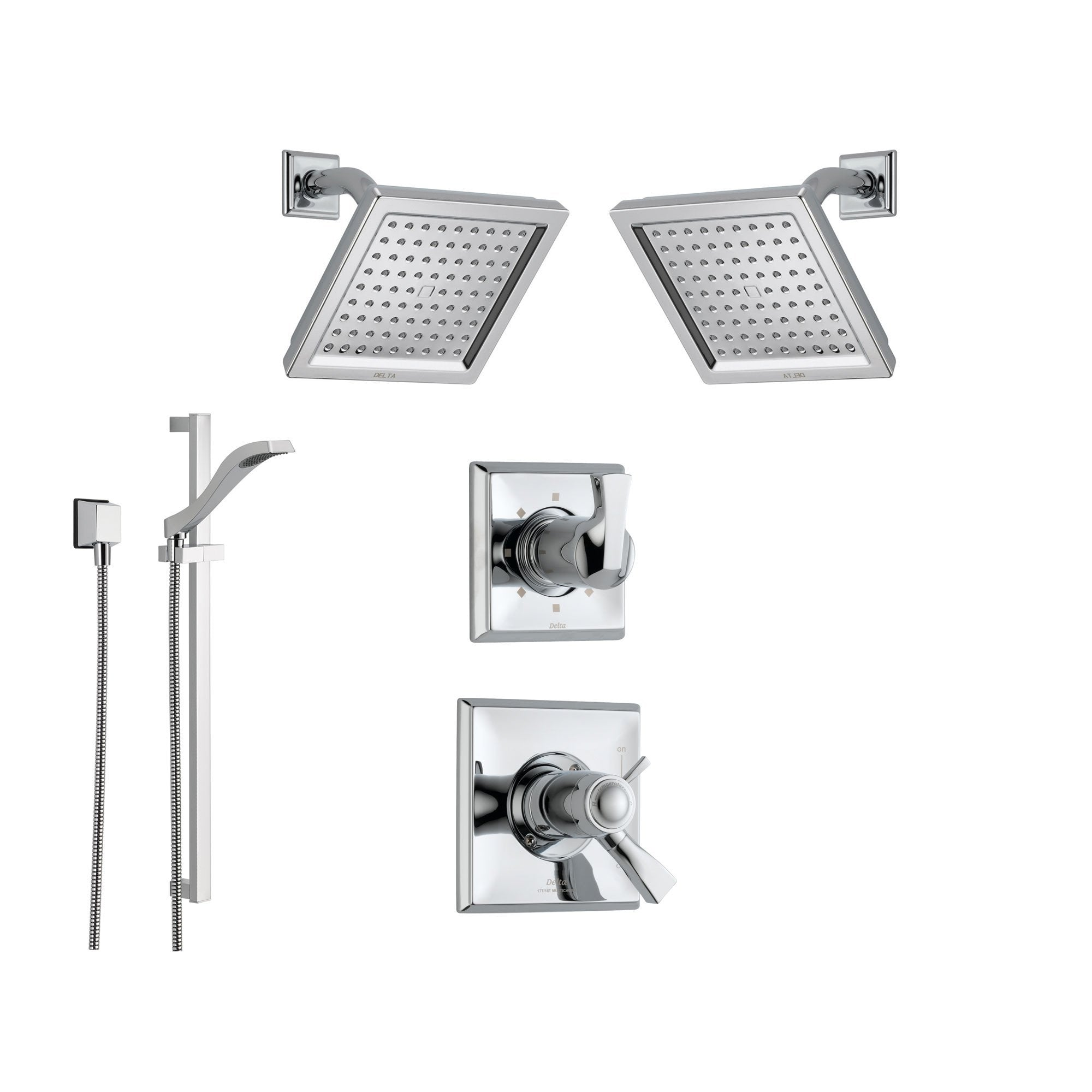 Delta Dryden Chrome Shower System with Thermostatic Shower Handle, 6-setting Diverter, 2 Modern Square Showerheads, and Handheld Shower SS17T5195