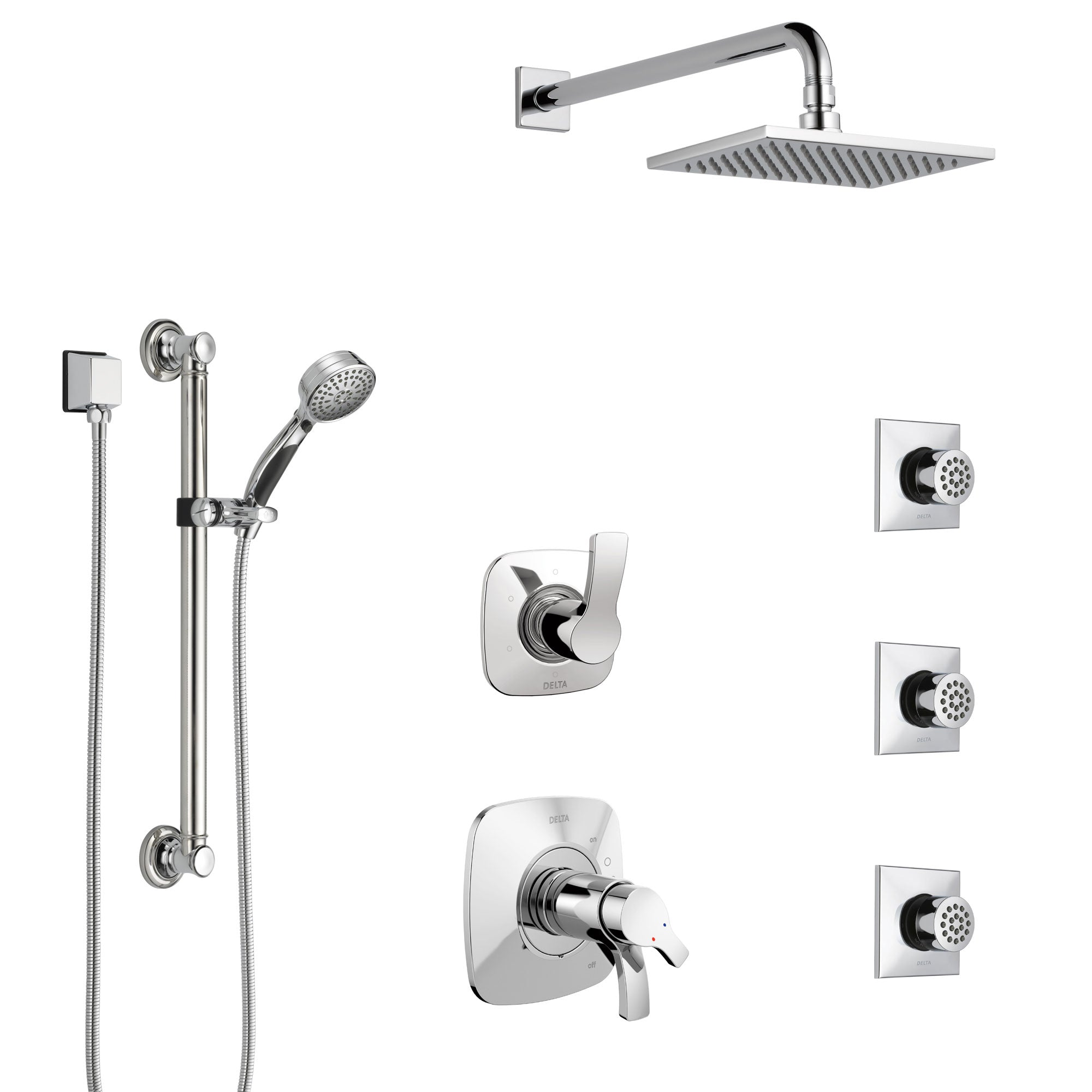 Delta Tesla Chrome Shower System with Dual Thermostatic Control, Diverter, Showerhead, 3 Body Sprays, and Hand Shower with Grab Bar SS17T5216