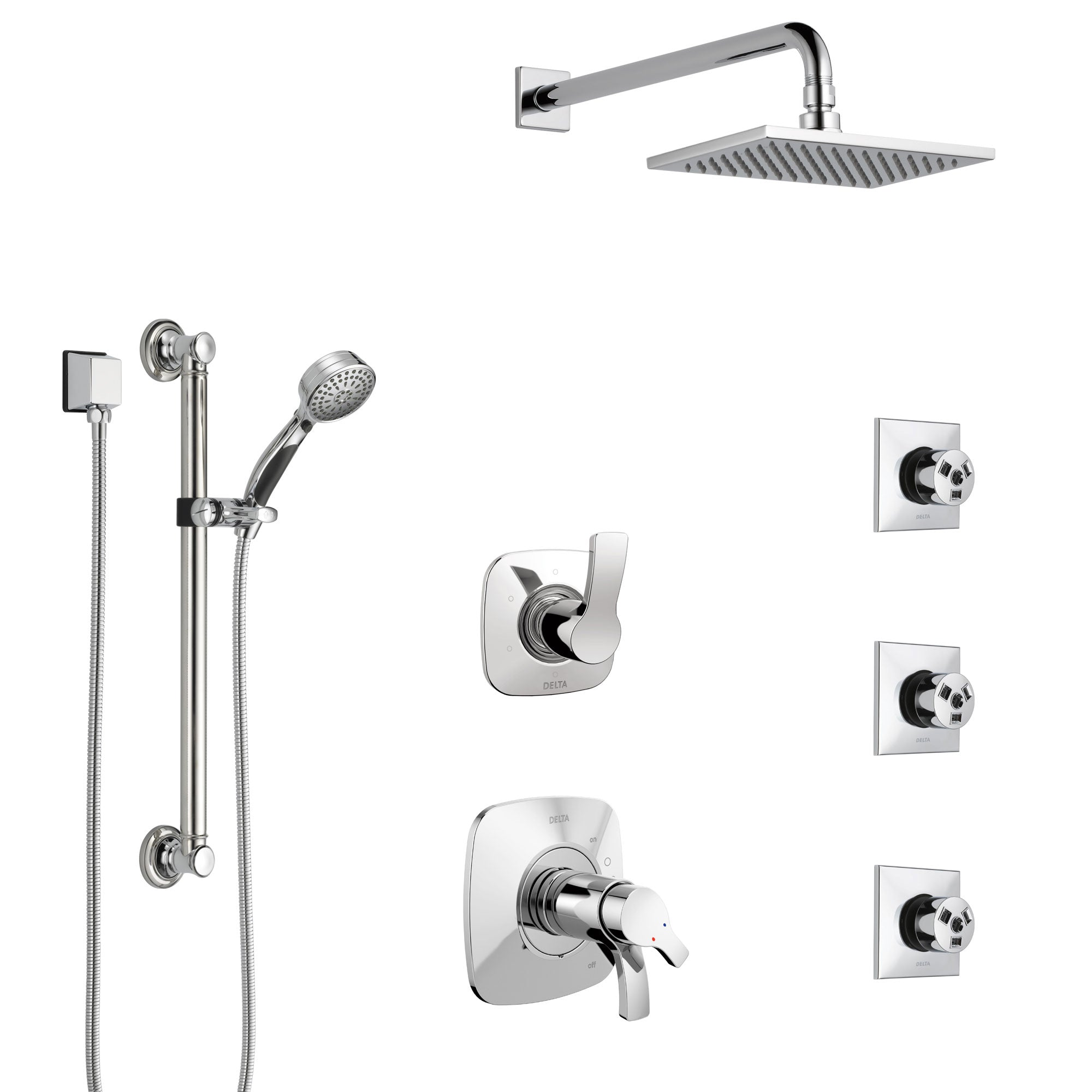 Delta Tesla Chrome Shower System with Dual Thermostatic Control, Diverter, Showerhead, 3 Body Sprays, and Hand Shower with Grab Bar SS17T5217