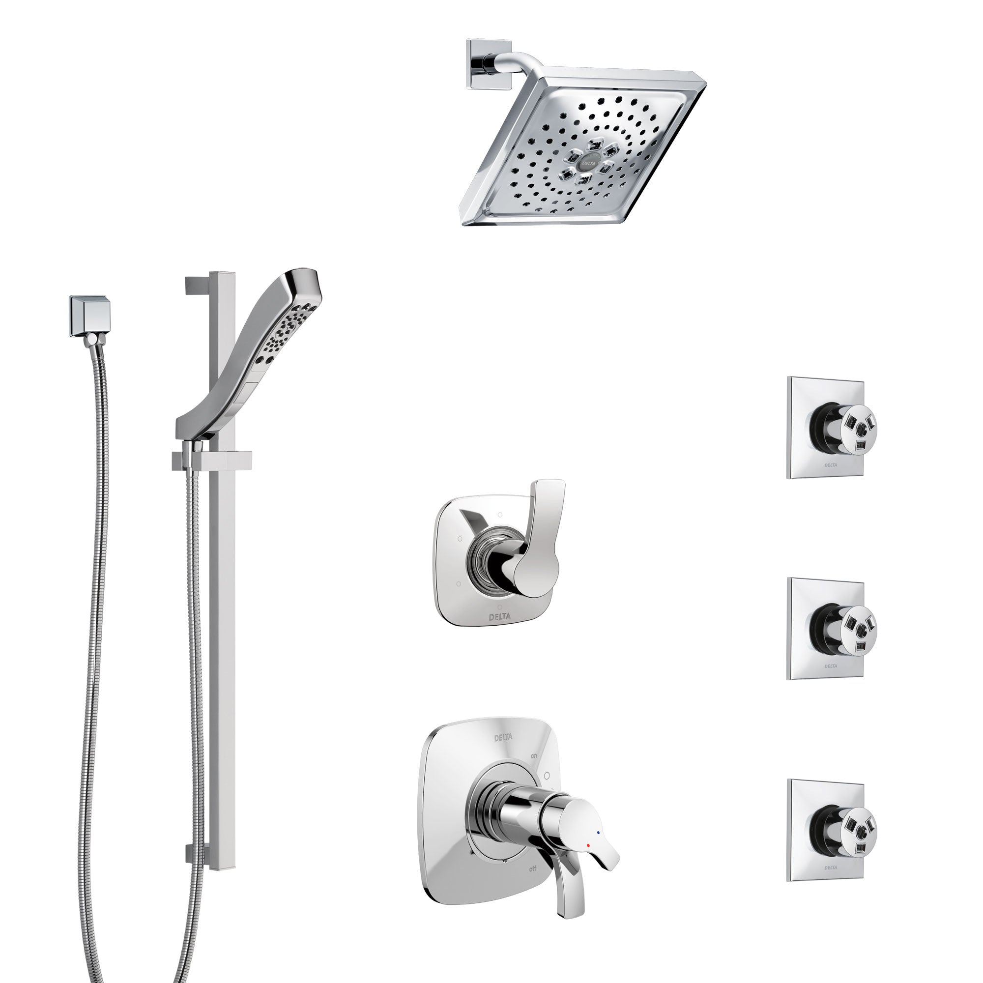 Delta Tesla Chrome Shower System with Dual Thermostatic Control Handle, 6-Setting Diverter, Showerhead, 3 Body Sprays, and Hand Shower SS17T5218