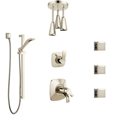 Delta Tesla Polished Nickel Shower System with Dual Thermostatic Control, Diverter, Ceiling Showerhead, 3 Body Sprays, and Hand Shower SS17T521PN6