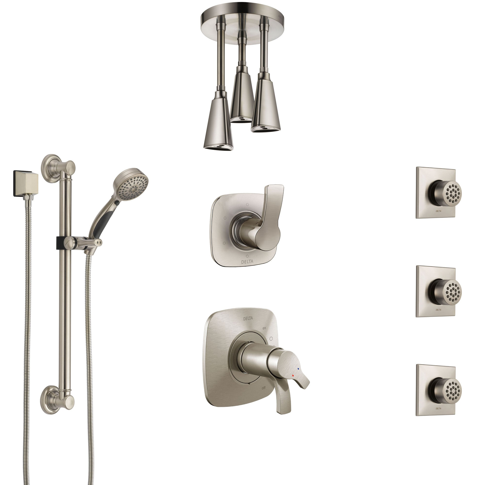 Delta Tesla Dual Thermostatic Control Stainless Steel Finish Shower System, Diverter, Ceiling Showerhead, 3 Body Jets, Grab Bar Hand Spray SS17T521SS2