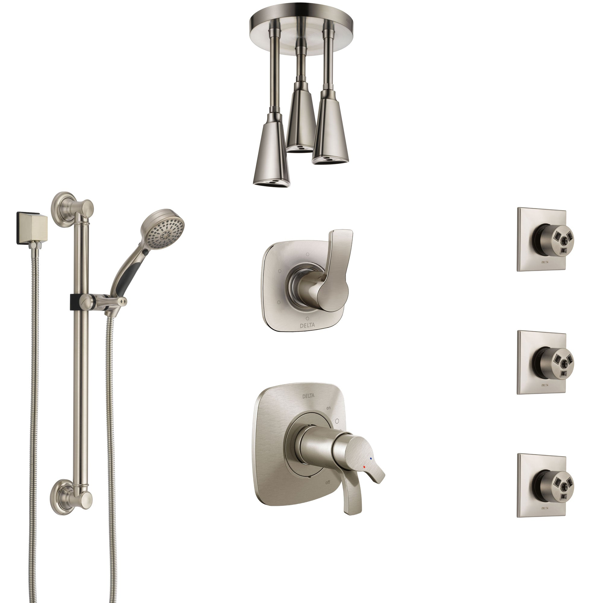 Delta Tesla Dual Thermostatic Control Stainless Steel Finish Shower System, Diverter, Ceiling Showerhead, 3 Body Jets, Grab Bar Hand Spray SS17T521SS3
