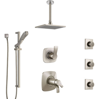 Delta Tesla Dual Thermostatic Control Stainless Steel Finish Shower System, Diverter, Ceiling Showerhead, 3 Body Sprays, and Hand Shower SS17T521SS6