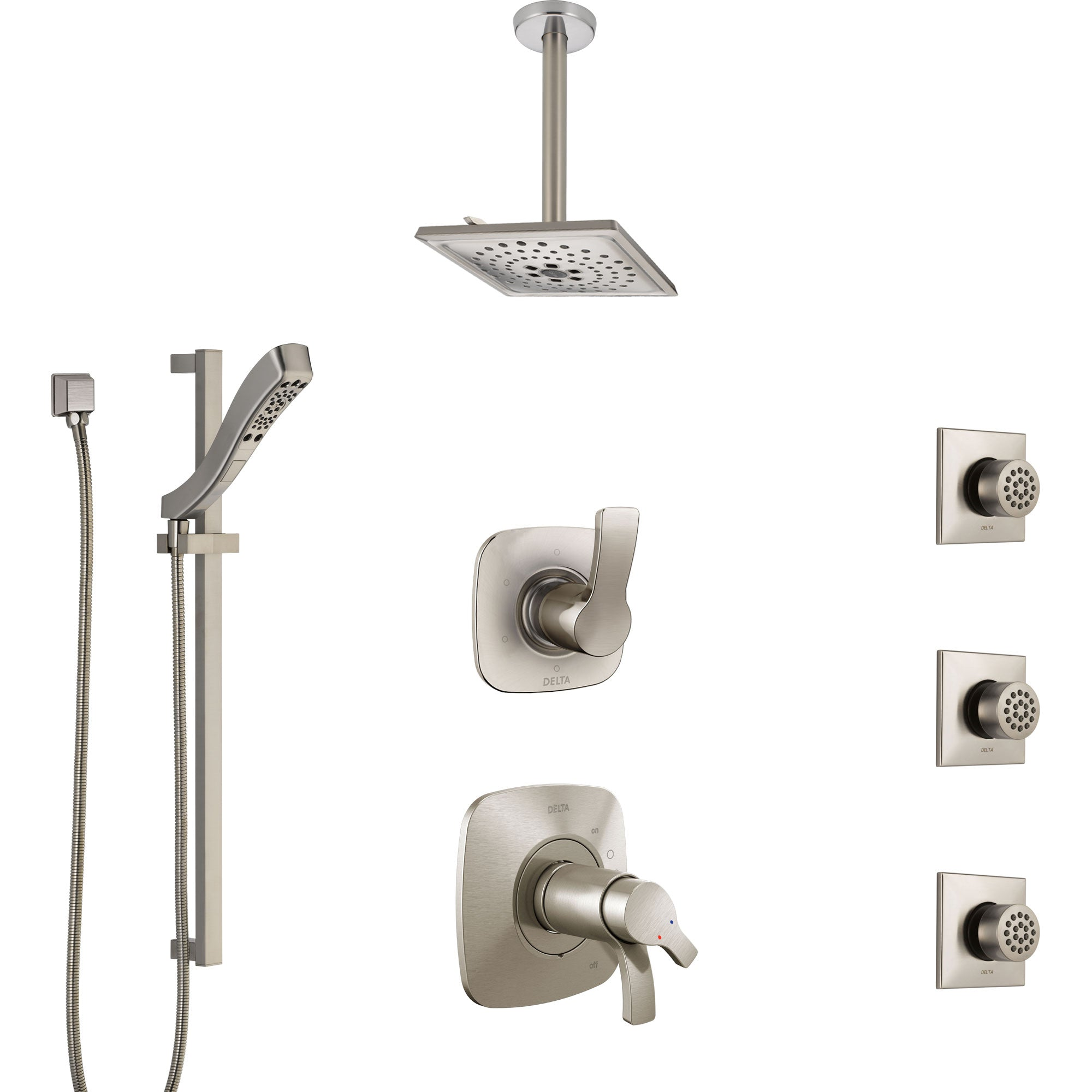 Delta Tesla Dual Thermostatic Control Stainless Steel Finish Shower System, Diverter, Ceiling Showerhead, 3 Body Sprays, and Hand Shower SS17T521SS7