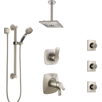 Delta Tesla Dual Thermostatic Control Stainless Steel Finish Shower System, Diverter, Ceiling Showerhead, 3 Body Jets, Grab Bar Hand Spray SS17T521SS8
