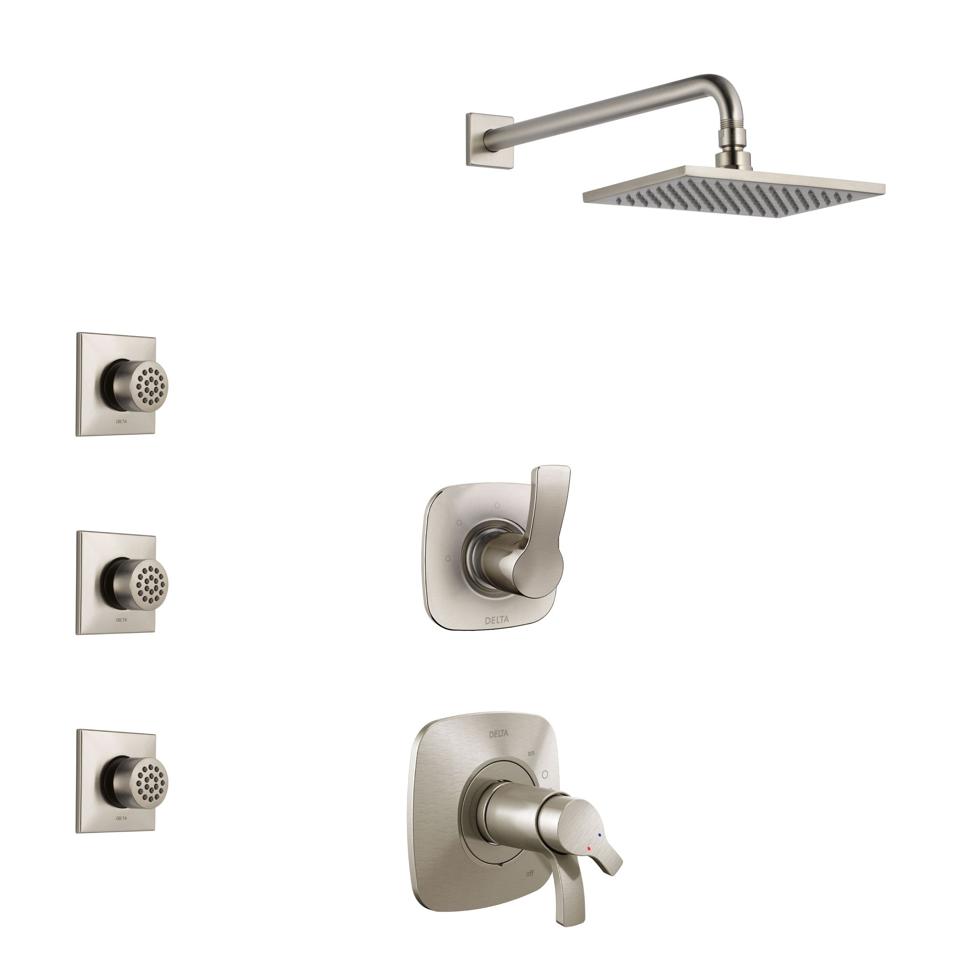 Delta Tesla Stainless Steel Finish Shower System with Dual Thermostatic Control Handle, 3-Setting Diverter, Showerhead, and 3 Body Sprays SS17T522SS7