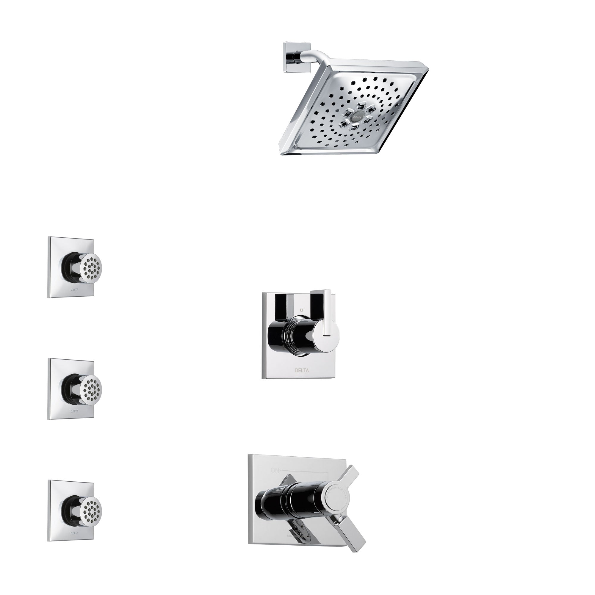 Delta Vero Chrome Finish Shower System with Dual Thermostatic Control Handle, 3-Setting Diverter, Showerhead, and 3 Body Sprays SS17T5316