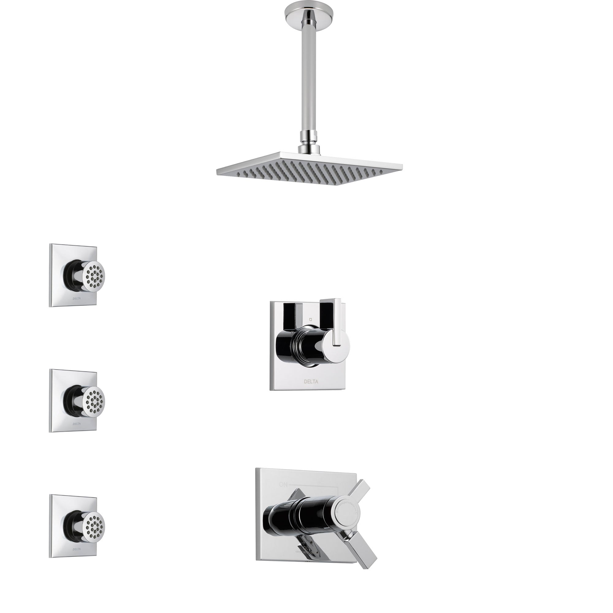 Delta Vero Chrome Finish Shower System with Dual Thermostatic Control Handle, Diverter, Ceiling Mount Showerhead, and 3 Body Sprays SS17T5317