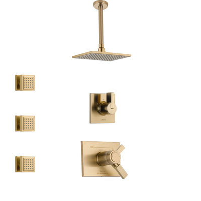 Delta Vero Champagne Bronze Shower System with Dual Thermostatic Control Handle, Diverter, Ceiling Mount Showerhead, and 3 Body Sprays SS17T531CZ5