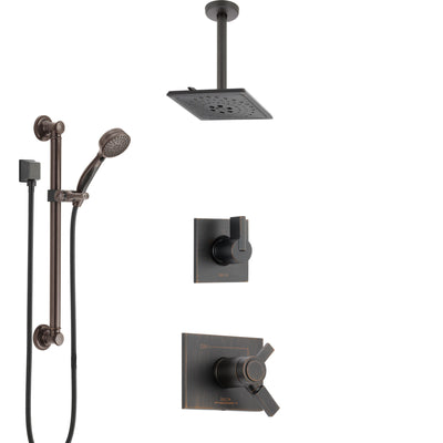 Delta Vero Venetian Bronze Shower System with Dual Thermostatic Control, Diverter, Ceiling Mount Showerhead, and Hand Shower with Grab Bar SS17T531RB2