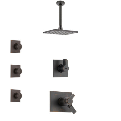 Delta Vero Venetian Bronze Shower System with Dual Thermostatic Control Handle, Diverter, Ceiling Mount Showerhead, and 3 Body Sprays SS17T531RB4