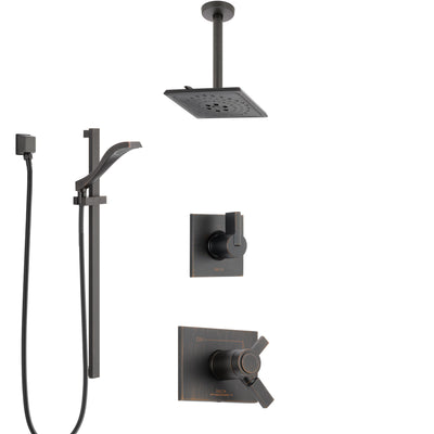 Delta Vero Venetian Bronze Shower System with Dual Thermostatic Control Handle, Diverter, Ceiling Mount Showerhead, and Hand Shower SS17T531RB6