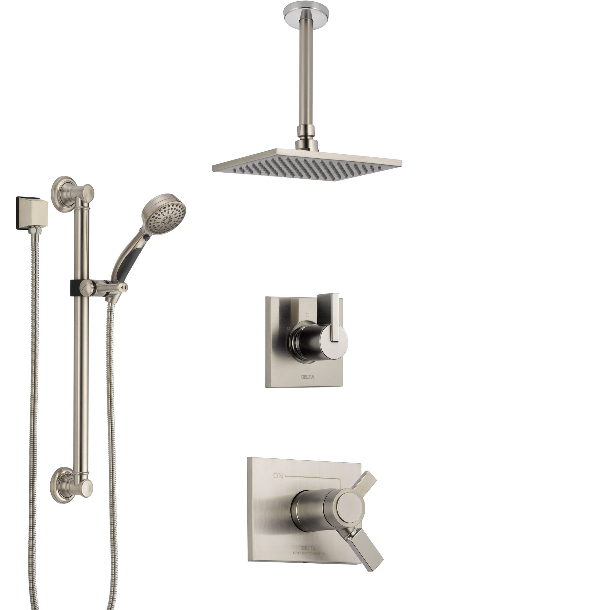 Delta Vero Dual Thermostatic Control Stainless Steel Finish Shower System, Diverter, Ceiling Mount Showerhead, and Grab Bar Hand Shower SS17T531SS1
