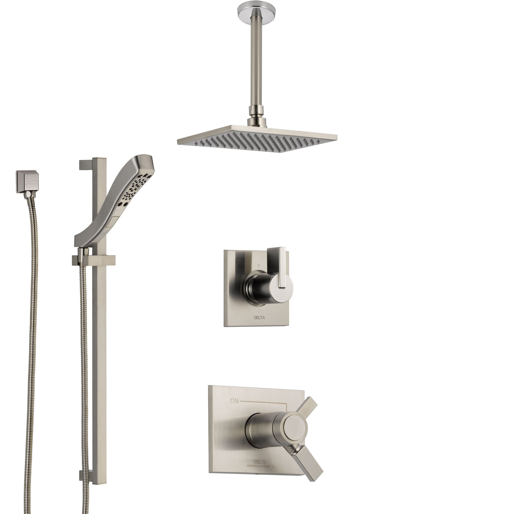 Delta Vero Dual Thermostatic Control Handle Stainless Steel Finish Shower System, Diverter, Ceiling Mount Showerhead, and Hand Shower SS17T531SS3