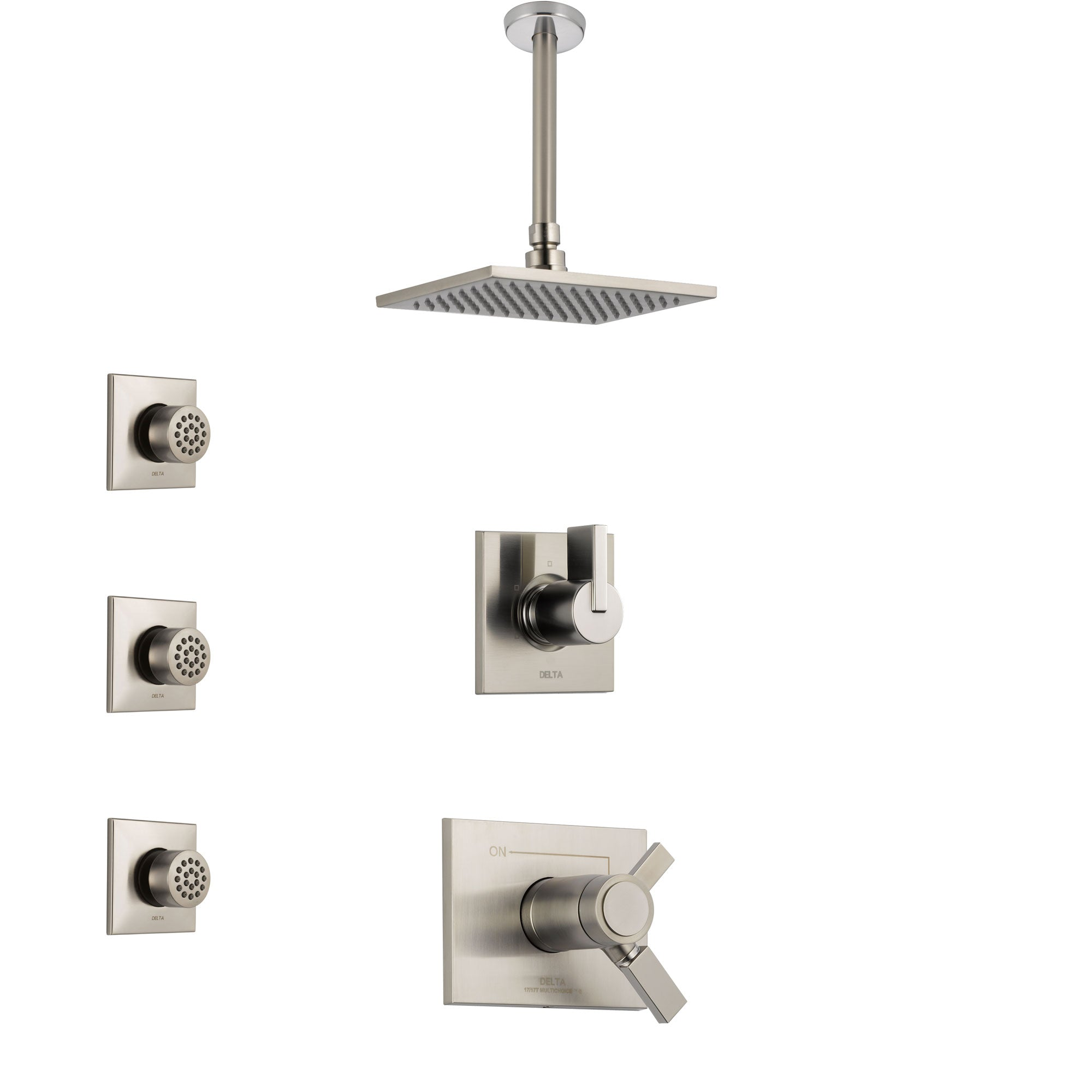 Delta Vero Dual Thermostatic Control Handle Stainless Steel Finish Shower System, Diverter, Ceiling Mount Showerhead, and 3 Body Sprays SS17T531SS5