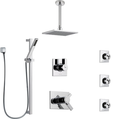 Delta Vero Chrome Shower System with Dual Thermostatic Control, 6-Setting Diverter, Ceiling Mount Showerhead, 3 Body Sprays, and Hand Shower SS17T5323