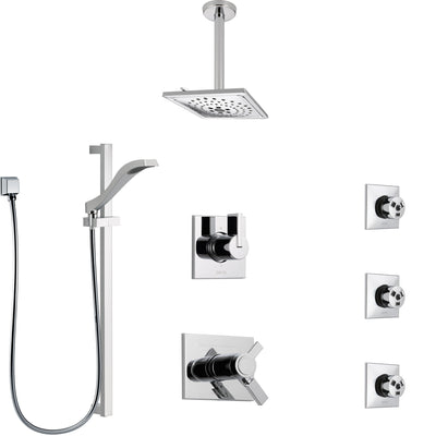 Delta Vero Chrome Shower System with Dual Thermostatic Control, 6-Setting Diverter, Ceiling Mount Showerhead, 3 Body Sprays, and Hand Shower SS17T5324