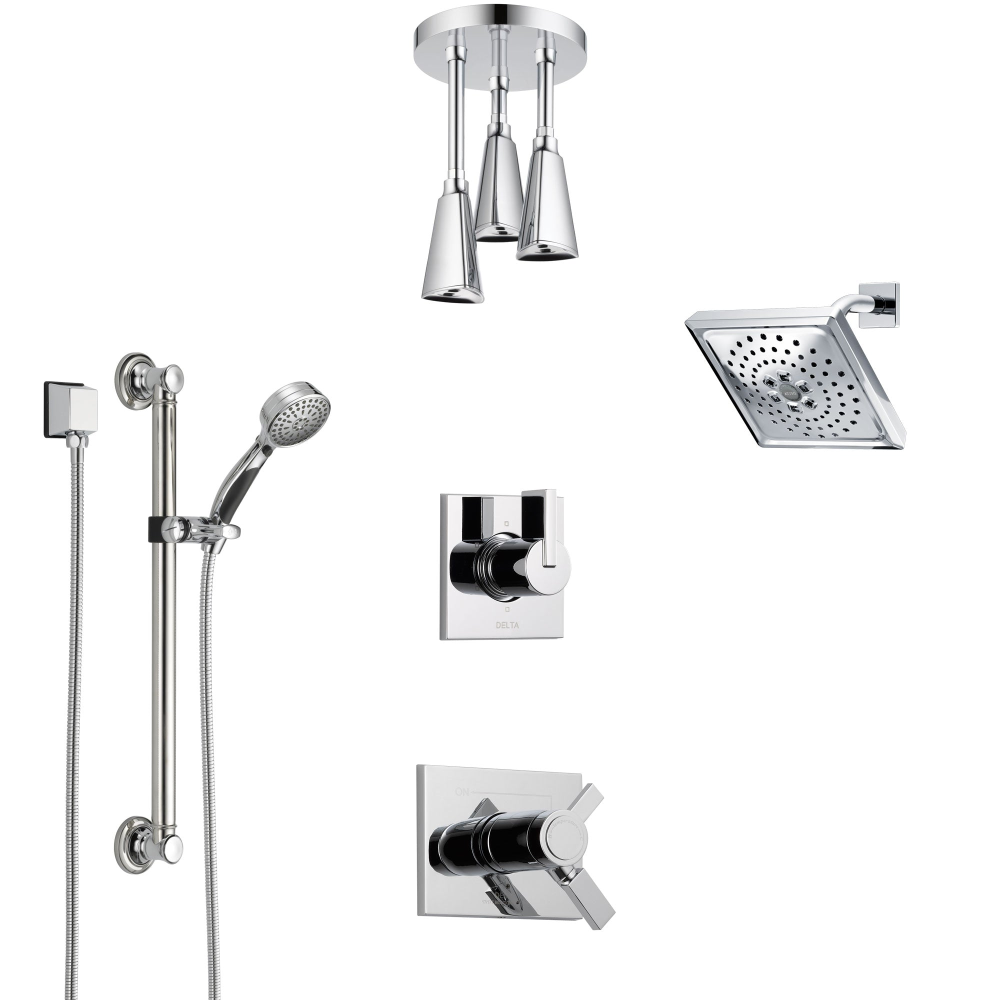 Delta Vero Chrome Shower System with Dual Thermostatic Control, Diverter, Showerhead, Ceiling Mount Showerhead, and Grab Bar Hand Shower SS17T5327
